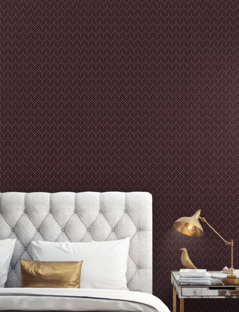 Miltons Manhattan Oxblood Geometric MAN 006 Wallpaper